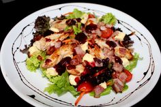 Tomi's Salad of the Day - this is Chicken, Bacon and Brie with Cranberry. Chicken Bacon, Main Meals, Brie, Cobb Salad, Restaurant, Food, Restaurants, Meals, Dining Rooms