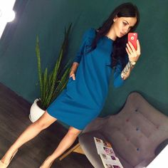 Cheap Dresses, Buy Directly from China Suppliers: NEW OYDDUP 2017 Women Autumn Winter sexy Back Long Zipper dress Solid color O-Neck 3/4 Sleeve casual Straight dress