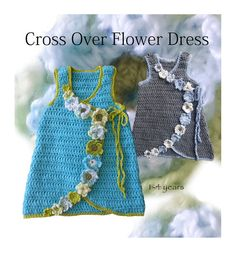 This listing is for an INSTANT DOWNLOAD (pdf) - CROCHET PATTERN ONLY.  Handcrafted, this crochet dress with its crossover fronts and flowers, is the perfect accessory for toddlers to young girls through Fall, Winter & Spring. Worn as a dress or over T-shirts and leggings or jeans is just adorable. Its versatile & fun. The flowers are such fun and can be made to suit your own style. When they outgrow the dress they have a top!  My passion is designing around the 1 - 4 year age group. H...