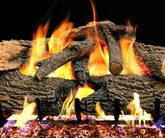 Peterson Real Fyre Charred Evergreen Oak Gas Log Set With Vented Propane Burner - Electronic Variable Remote Gas Log Burner, Bbq Guys, Gas Fireplace Logs, Gas Fireplaces, Fireplace Ideas, Oak Logs, Free Gas, Charred Wood, Wood Sample
