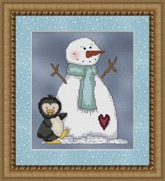 Free Frozen Snowman Cross Stitch Pattern.