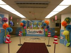 Frankford Township School lobby decorated for Love of Reading Week and Read Across America.