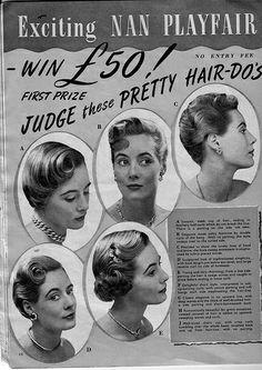 50's hair styles- for medium hair length