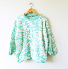 Rad Vintage Abstract Sweater in Aqua Blue / by thehappyforest