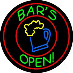 Round Bar Open With Beer Mug Neon Sign 26 Tall x 26 Wide x 3 Deep, is 100% Handcrafted with Real Glass Tube Neon Sign. !!! Made in USA !!!  Colors on the sign are Red, Green, Yellow and Blue. Round Bar Open With Beer Mug Neon Sign is high impact, eye catching, real glass tube neon sign. This characteristic glow can attract customers like nothing else, virtually burning your identity into the minds of potential and future customers.