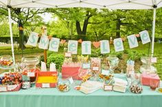 I love the bunting behind the candy table...