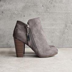almond toe stacked heel vegan suede booties - grey - shophearts - 1