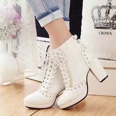 Sweet high heel bowknot Martin boots