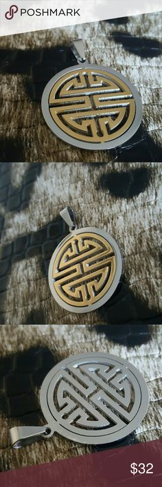 18k gold silver oriental asian medallion pendant Xmas gift Maya Jewelry Necklaces