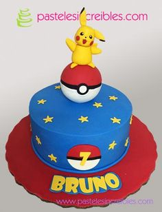 Character handmade in Fondant. From 20 people. Various flavors to choose from. Do you want to modify this model or need First Birthday Party Themes, Twin Birthday, Pokemon Party Bags, Pikachu Cake, Pokemon Cakes, Pokemon Birthday Cake, Cupcake Cakes, Cupcakes, Angel Cake