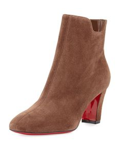 Tiagadaboot+Suede+70mm+Red+Sole+Bootie,+Chatain+Brown+by+Christian+Louboutin+at+Neiman+Marcus.