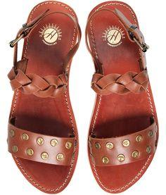 Women's Axis (Tan) Plait Leather Sandal | H Shoes