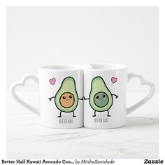 Shop Better Half Kawaii Avocado Couples Coffee Mug Set created by MinhaSanidade. Personalize it with photos & text or purchase as is! Couples Coffee Mugs, Coffee Mug Quotes, Couple Mugs, Coffee Mug Sets, Mugs Set, Best Friend Mug, Friend Mugs, Retirement Gifts For Men, Bff