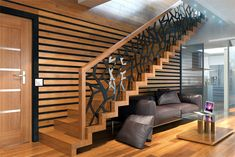 Interior staircase Modern design for every style - Kitchen Ideas Modern Stair Railing, Stair Railing Design, Modern Stairs, Staircase Interior Design, Home Stairs Design, Home Interior Design, Stairs In Living Room, House Staircase, Plafond Design