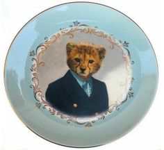 Altered Antique Ceramic Plate X Charlie Cheetah