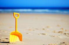Yellow spade on the beach