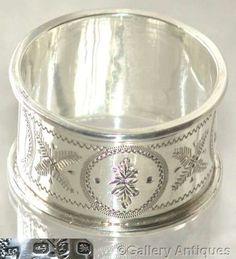 SOLD VICTORIAN Joseph Gloster SOLID SILVER bright cut NAPKIN RING Birmingham 1897