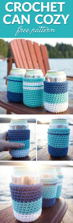 Crochet Can Cozy Pattern If you're going to have a few beverages, why not have crochet can cozy's around the cans to prevent your hands from getting cold and wet.Hands On Hands On may refer to: Crochet Mug Cozy, Crochet Gifts, Scrap Yarn Crochet, Crochet Mittens, Mittens Pattern, Knitted Hat, Crochet Simple, Free Crochet, Quick Crochet Patterns