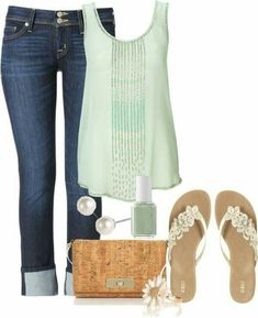 Jeans and Light Green Blouse.