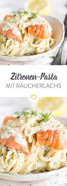 eine pasta zum verwohnen mit zitrone und lachs und einer ordentlichen portion cra me fraa che