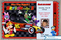 Mickey and the Roadster Racers Birthday Invitation - with or without Photo