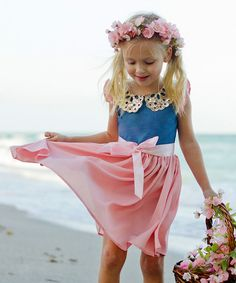 Look at this Denim & Pink Peter Pan Angel-Sleeve Dress - Toddler & Girls on #zulily today!
