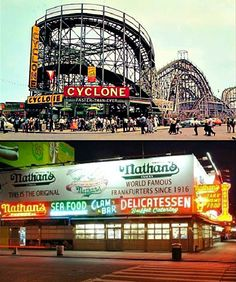 The 'hoods. Old Brooklyn nostalgia. I haven't been to Coney Island in a million years! But my mother's side of the family was Brooklyn based and I spent the first few years of my life there. The old Cyclone wooden rollercoaster is now a National Landmark. And back then, who knew how bad for us those delicious grilled Nathan's frankfurters were?