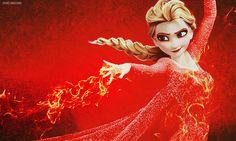 Frozen~Elsa the Fire Queen Disney Crossovers, Disney Movies, Disney Characters, Disney And Dreamworks, Disney Pixar, Funny Disney, Disney Xd, Elsa Frozen, Disney Frozen
