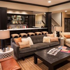 Basement Bar Ideas, Pictures, Remodel and Decor Rustic Basement Bar, Basement Bar Designs, Basement House, Basement Ideas, Basement Bathroom, Cozy Basement, Walkout Basement, Basement Finishing, Basement Ceilings