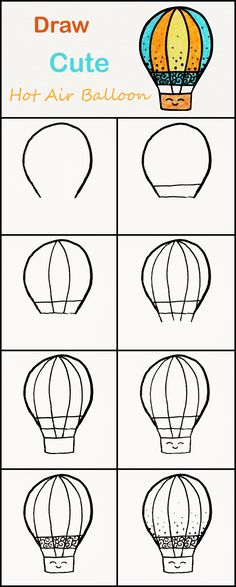Learn how to draw a cute Hot air Balloon step by step ♥ very simple tutorial Zeichnungen iDeen ✏️ Easy Pencil Drawings, Easy Flower Drawings, Easy Doodles Drawings, Easy Doodle Art, Cute Drawings, Easy Chalk Drawings, Hipster Drawings, Kawaii Drawings, Drawing Tutorial Hands