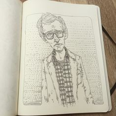 Next one… Woody! #sketch #sketchaday #sketchbook #sketch_dailies #illustration #ilustracion #drawing #dibujo #art #arte #moleskine #moleskine_arts #woodyallen #woody #hippster #vintage #glasses #nerd #smart #genius #movie #film #anniehall #portrait #ink #micron #micronart