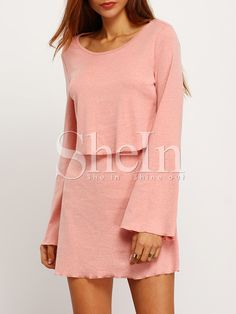 Robe+dos+nu+manches+longues+-rose+12.97