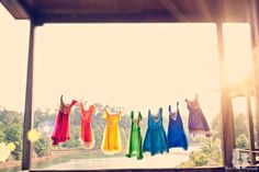 Taste The Rainbow Wedding by Three Nails Photography Over The Rainbow, Taste The Rainbow, Rainbow Bridesmaid Dresses, Rainbow Dresses, Rainbow Clothes, Bridesmaid Gowns, Sun Dresses, Colorful Clothes, Summer Dresses