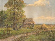 Wiktor Korecki: Pejzaż wiejski , olej, płótno, 43,5 x 58,5 cm