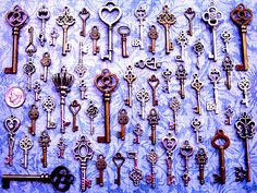 Yes, 68 keys for just $6.99!  Great variety set of vintage / antique skeleton look key charms!  Flower, heart and other themes! Perfect for crafts, scrap-booking, jewelry, wedding tags or place settings, collections, display - the uses are limited on by your imagination. Various sizes from 3/4 to 2 & 1/2 tall! Made of metal. Most keys are double-sided, but a few, mostly the smaller ones, are flat-backed.  Keep in mind these are reproductions, not actual working keys!  Custo...
