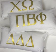 Sorority Pillow - Gold Monogram Pillow - Pi Beta Phi - Chi Omega - Tri Delt- Kappa - More sororities available - Decorative Pillow