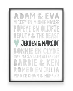 Famous Love Print - Personalized poster with your own names - Famous Love ♡ Create a poster with your own names and order it at Printcandy ♡ Love ♡ Wedding - Love Gifts, Diy Gifts, Julia Plus, Marriage Gifts, Personalized Posters, Make Your Own Poster, Chalkboard Art, Barbie And Ken, Valentines Diy