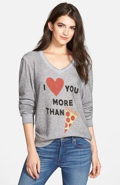 Wildfox+'More+Than+Pizza'+V-Neck+Pullover+Sweatshirt+(Nordstrom+Exclusive)+available+at+#Nordstrom