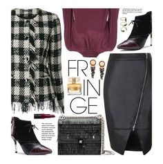 """""""Shimmy Shimmy: Fringe"""" by beebeely-look ❤ liked on Polyvore featuring Fendi, Tagliatore, Marc Jacobs, Bobbi Brown Cosmetics, Givenchy, Noir Jewelry, WorkWear, fringe, sammydress and leatherskirt"""