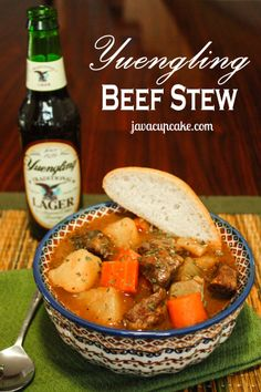 Recipe for Yuengling Beef Stew - chunks of chuck roast, onion, potato, carrots & celery simmered in Yeungling beer & spices make for a rich, flavorful stew! Beer Recipes, Crockpot Recipes, Great Recipes, Soup Recipes, Cooking Recipes, Favorite Recipes, Batch Cooking, Drink Recipes, Fall Recipes