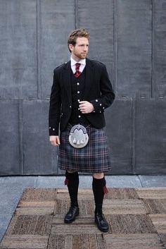 Argyll Outfit with Hebridean Heather Tartan. Fiancé would kill to wear a kilt. I veto. Scottish Wedding Traditions, Scottish Weddings, Kilt Hire, Feminine Traits, Leather Men, Leather Jacket, Men In Kilts, Kilt Men, Groom And Groomsmen