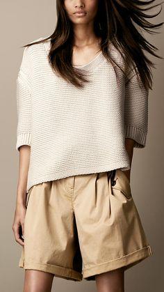 """ Milk & Cream ""  Burberry Brit Chunky Cotton #Sweater"