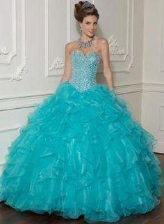 vestido azul turquesa para 15 anos