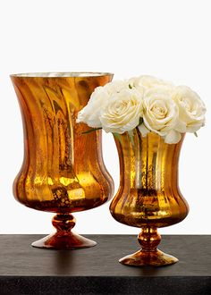 Cream Roses In Antique Copper Mercury Glass Hurricane Pedestals