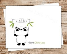 panda bear note cards, notecards - set of 8 - folded personalized stationery, stationary - hello cards - jungle, zoo