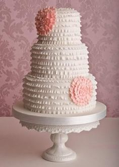 Love this Ruffled white Cake on a white Milk glass cake Stand!!!