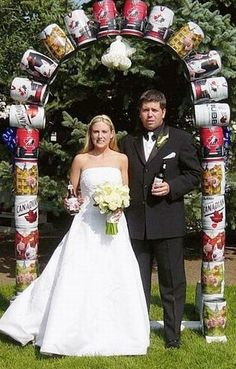 This is what you call a redneck wedding arch. This is just one piece of the full redneck wedding. Wedding Fail, Beer Wedding, Wedding Humor, Wedding Ceremony, Wedding Ideas, Wedding Arches, Fall Wedding, Wedding Country, Wedding Inspiration
