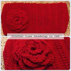 Crochet Rose Head Wrap Headband Ear Warmers in Red by RAiNBOWNiKKi, $15.00