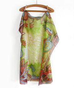 """Hand Painted Silk Scarf """" Jungle """" Paint by hand shawl with green floral design . Square big scarf for summer or spring . Batik scarf."""