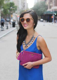 Bright Outfit // Cobalt Blue Dress & Fuchsia Clutch